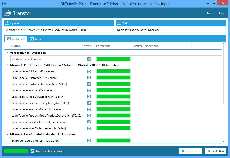 DbTransfer - Export/Import von SQL Server zu Excel und Xml, Csv ...